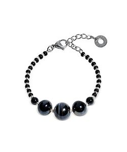 Antica Murrina | Optical 2 Rigido Silver Stainless Steel Bracelet W/ Murano Glass