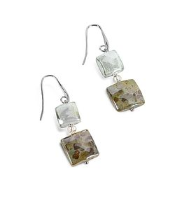 Antica Murrina | Atelier Byzantium Grey Murano Glass Silver Leaf Dangling Earrings