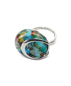 Antica Murrina | Byzantium Murano Glass Ring W/Silver Leaf