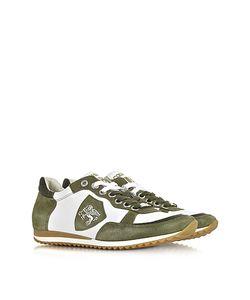D'Acquasparta   Venezia Leather And Green Suede Sneaker