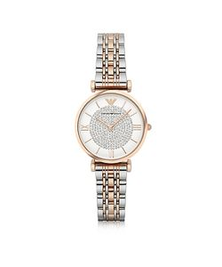 Emporio Armani | Gianni T-Bar Two Tone Stainless Steel Womens Watch W/Crystals Dial