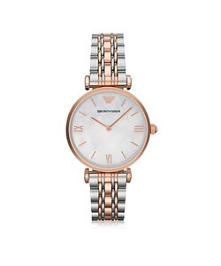 Emporio Armani | White Mother-Of-Pearl Dial Stainless Steel And Rose Gold-Tone Womens Watch