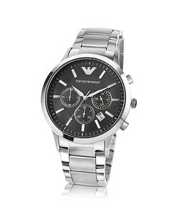 Emporio Armani | Mens Black Dial Stainless Steel Chrono Watch