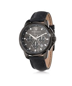 Maserati | Successo Stainless Steel Case And Leather Strap Mens Chrono Watch