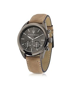 Maserati | Pole Position Chronograph Gunmetal Dial And Brown Leather Strap Mens Watch