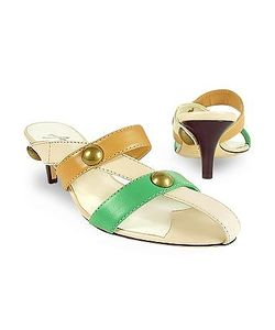 Amaltea | Front Straps Leather Slide Shoes