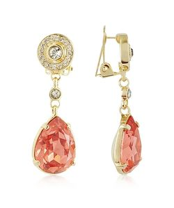 AZ Collection | Orange Clip-On Drop Earrings