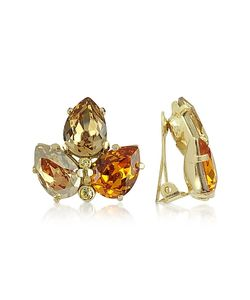 AZ Collection | Amber Crystal Clip-On Earrings