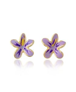 AZ Collection | Garden Line Purple Enamel Flower Earrings