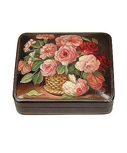 Bianchi Arte | Flower Bouquet Oil On Leather Jewelry Box