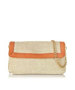 Buti | Straw And Leather Clutch W/Shoulder Strap