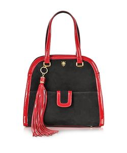 Buti | Suede And Red Patent Leather Shoulder Bag