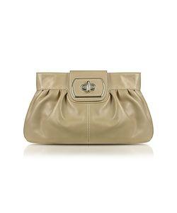 Buti | Beige Genuine Leather Twist-Lock Clutch