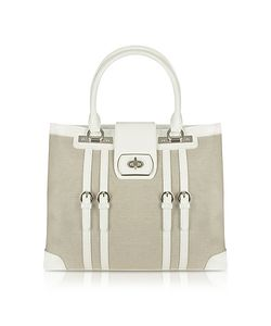 Buti | Patent Leather And Canvas Tote Bag
