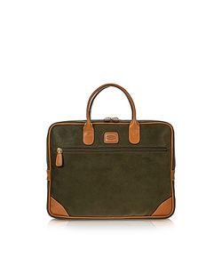 BRIC'S | Life Medium Olive Micro Suede Laptop Attache