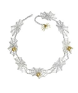Bernard Delettrez | Bronze Spiders On Web Necklace
