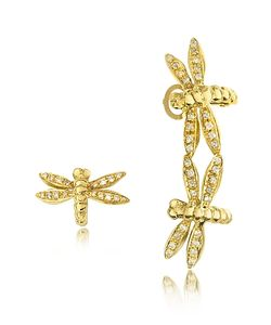 Bernard Delettrez | Dragonflies 18k Earrings W/Diamonds