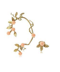Bernard Delettrez   Bronze Ear Cuff W/Pale Resin Roses