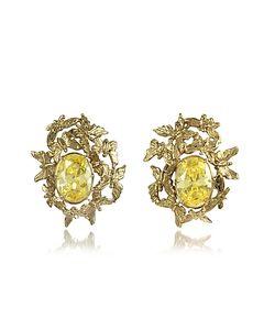 Bernard Delettrez   Butterflies Bronze Earrings W/Yellow Zircons
