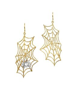 Bernard Delettrez | Spiderweb Bronze And Silver Earrings