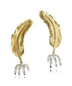 Bernard Delettrez   Feather W/Silver Claw Earrings