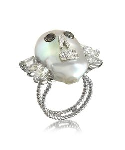 Bernard Delettrez | Pearl Skull 18k Ring W/Diamonds And White Sapphires
