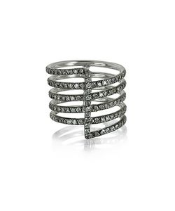Bernard Delettrez | Four Bands 9k Ring W/Grey Diamonds Pave