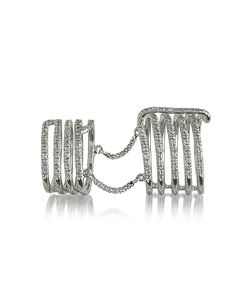 Bernard Delettrez | Seven Bands Articulated Ring W/Diamonds Pave