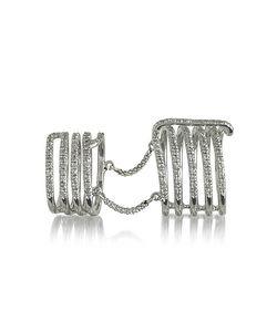 Bernard Delettrez   Seven Bands Articulated Ring W/Diamonds Pave