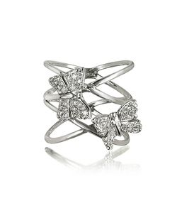 Bernard Delettrez | Criss Cross 18k Ring W/Two Diamond Butterflies