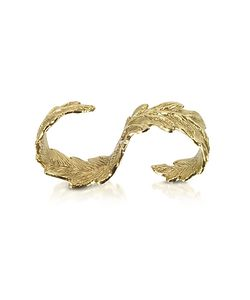 Bernard Delettrez | Two Fingers Bronze Leafy Ring
