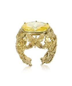 Bernard Delettrez   Dome Ring W/Butterflies And Yellow Cubic Zirconia