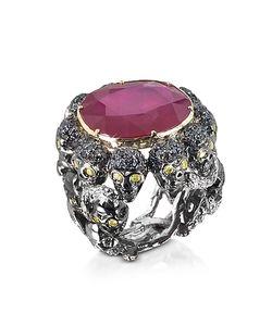 Bernard Delettrez   Skulls And Snakes Ring W/Glass-Treated Ruby