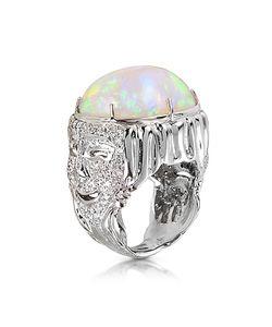 Bernard Delettrez   Drama Masks Gold Pave Ring W/Opal And Diamonds