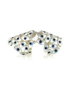 Bernard Delettrez   Sterling Articulated Ring W/Blue Eyes