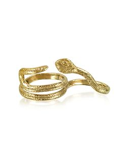 Bernard Delettrez | Two Fingers Bronze Ring W/2 Laps Snake