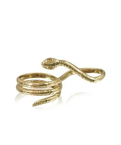 Bernard Delettrez | Two Fingers Bronze Ring W/3 Laps Snake