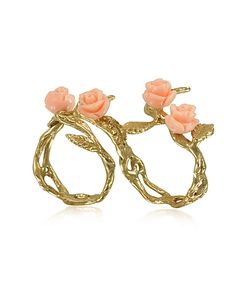 Bernard Delettrez | Two Fingers Leafy Bronze Ring W/4 Pink Resin Roses