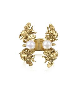 Bernard Delettrez | Bees And Pearls Bronze Ring