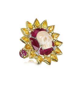 Bernard Delettrez   Ruby And Yellow Sapphires Skull Bone Ring