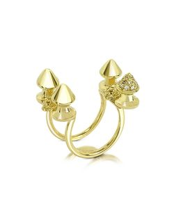 Bernard Delettrez   Four Studs And Cognac Diamonds Ring