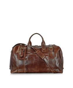 Chiarugi | Large Brown Italian Leather Holdall Bag Travel Bag