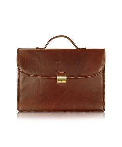 Chiarugi | Mens Handmade Brown Leather Single Gusset Briefcase