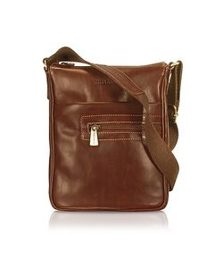 Chiarugi | Handmade Brown Genuine Leather Vertical Cross-Body Bag