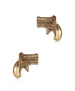 Calibro12 | Single Shot Rose Gold Plated Silver Earrings W/Natural Rubies