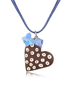Dolci Gioie | Chocolate Heart Cake Pendant W/Lace