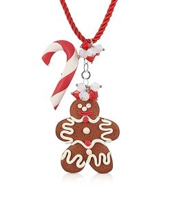Dolci Gioie | Candy Cane Gingerbread Man Necklace