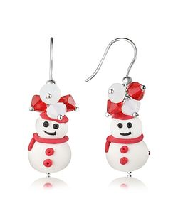 Dolci Gioie | Snowman Pendant Earrings With Crystals