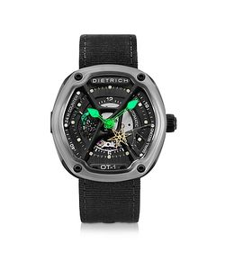 Dietrich | Ot-1 316l Steel Mens Watch W/Green Luminova And Nylon Strap