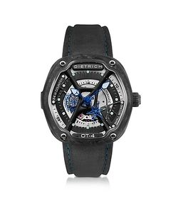 Dietrich | Ot-4 316l Steel And Forged Carbon Mens Watch W/Blue Luminova And